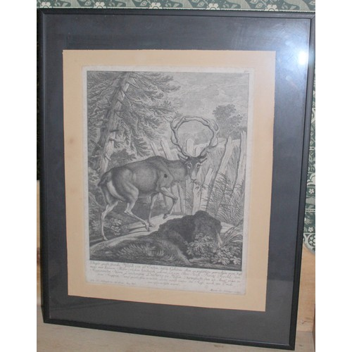 11 - Pair of Stag & Boar Prints. 410mmW x 510mmH, 600mmW x 500mmH...