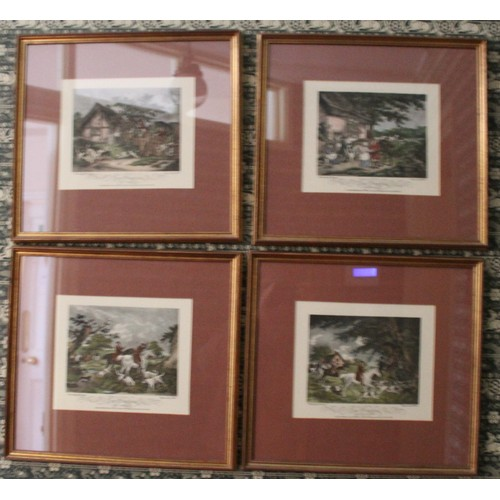 15 - Fox Hunting Prints x 4. 410mmW x 380mmH...