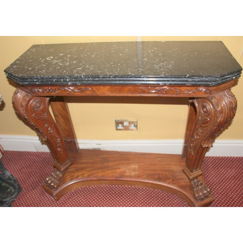 24 - Console Table with Marble Top, Claw Legs and a shelf. 1000mmW x 400mmD x 880mmH....