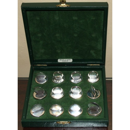 25C - Box of 12 Silver Placement Card Holders by Weir of Dublin. (Original presentation box)....