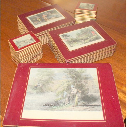 27 - Set of Table Mats & Coasters with Country Life Scenes. (11 serving mats, 28 place mats, 39 coasters)...