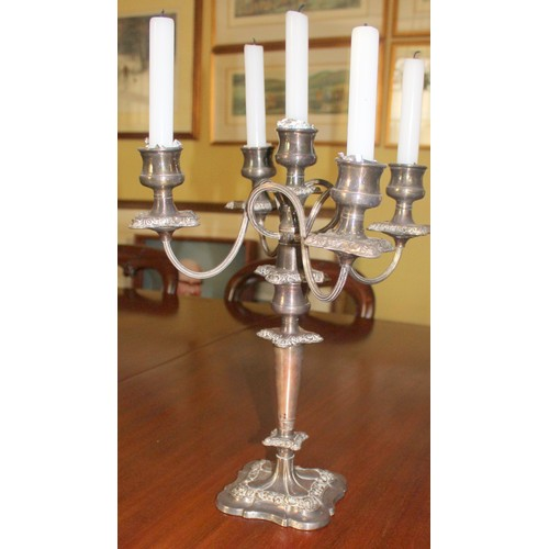 28 - Silver Plated 5 Arm Candelabra....