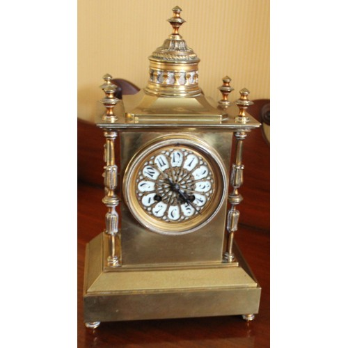 30 - Cathedral Brass Clock with Porcelain Face. 210mmW x 230mmD x 360mmH....