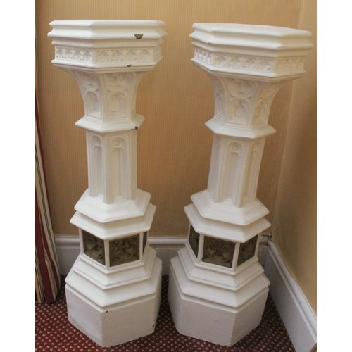 36 - Pair of plaster made Columns. 900mmH...