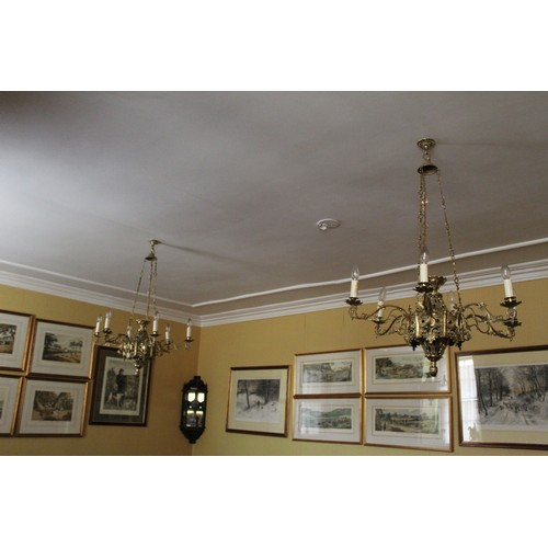 37 - Pair of Hanging Centre Lights, 6 Candle shaped lights on each....