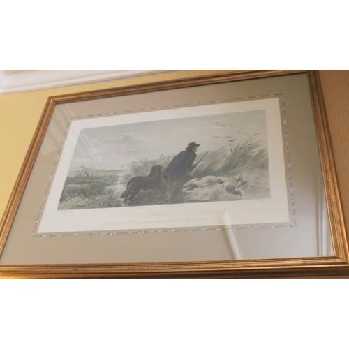 38 - Large Duck Shooting Print (J. B Nelson). 900mmW x 670mmH....