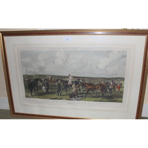 41 - Set of 4 Large Framed Engravings by J. Harris & W. Sumers. Fore's National Sports.