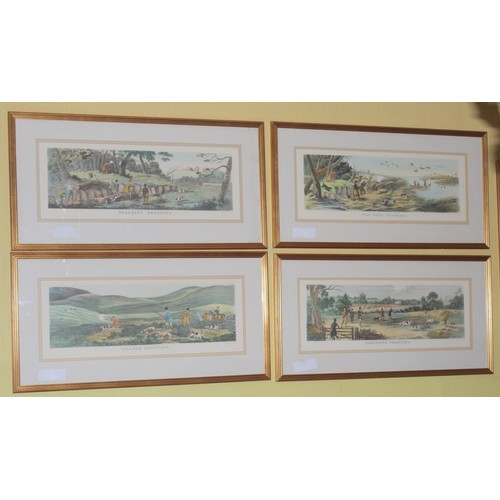 48 - Set of 4 Shooting Prints. Grouse, Wild Duck, Pheasant & Partridge. Published by R Ackermann...