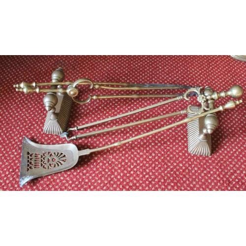 52 - Brass Fire Irons & Dogs....