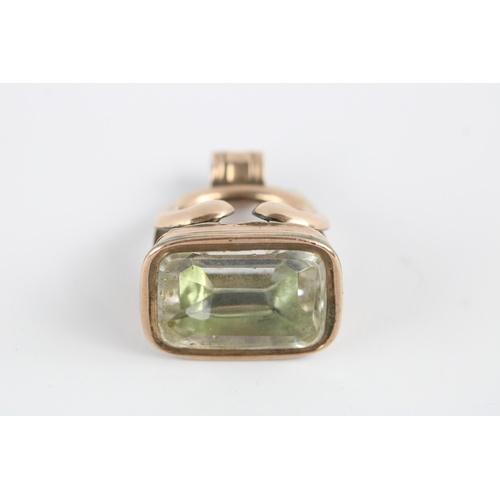 54 - Antique gold plated foiled quartz set fob seal...
