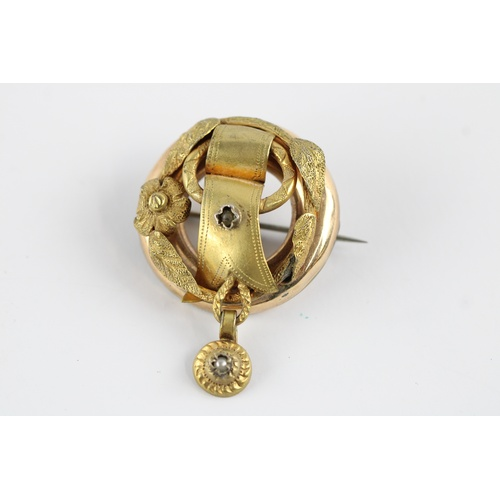 57 - Antique Etruscian revival seed pearl set gold plated brooch...