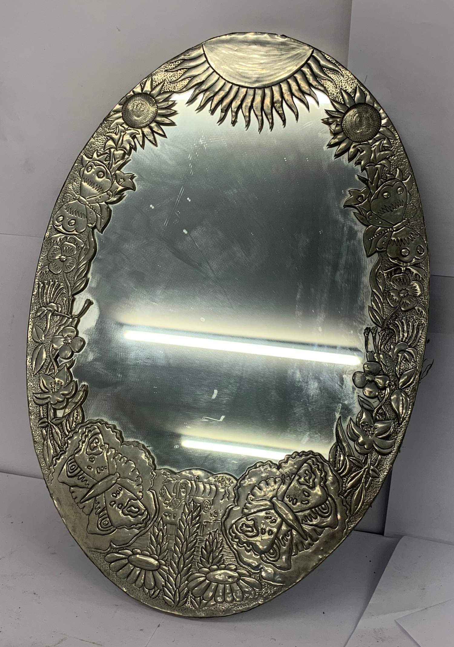 Ornate Metal Wall Mirror Small Damage Which Can Be Seen In The Images Approximate Measurements He