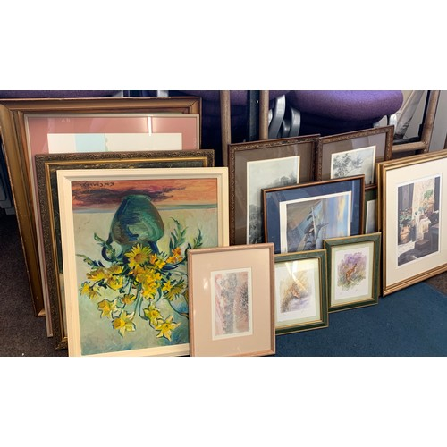 1 - Large selection of framed paintings and prints, some are signed...