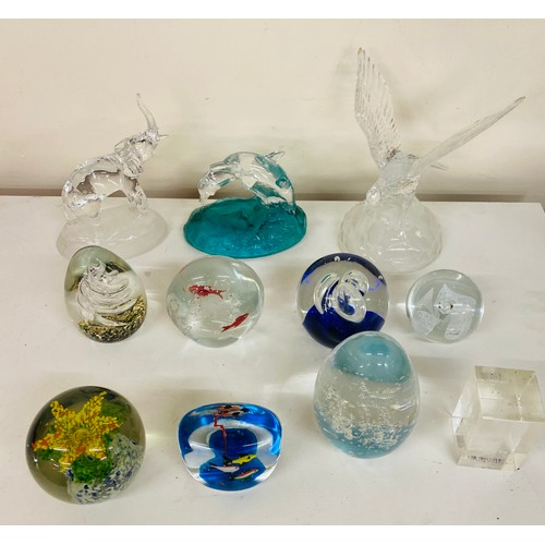 38 - Selection of glass ornaments and paper weights...