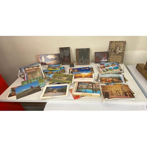 14 - Selection of vintage post cards, stamps, print blocks etc...