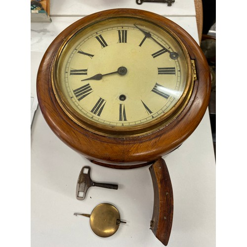 36 - Vintage small school clock with pendulum and key...