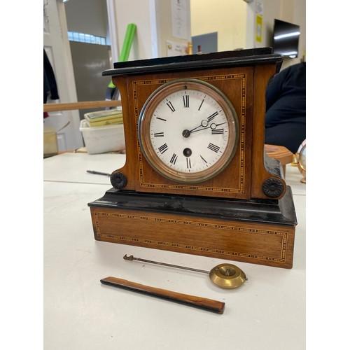 37 - Vintage inlaid mantel clock, case un need of repair, untested...