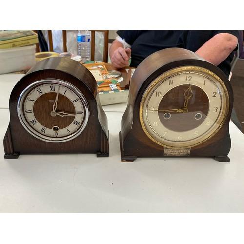 45 - 2 Smith keyhole mantel clocks, untested bezel missing off one clock...