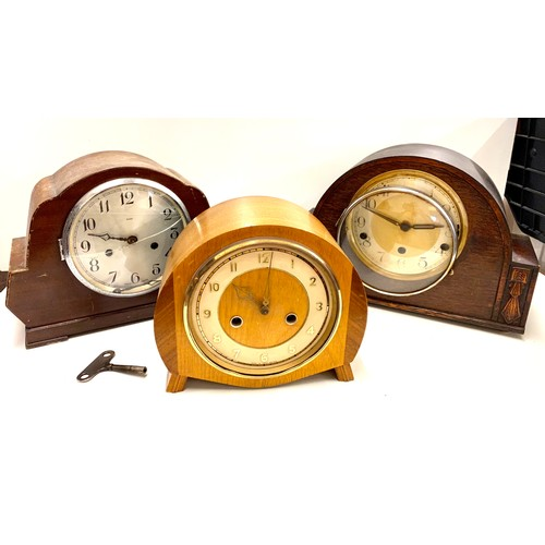 6 - Selection 3 chiming mantle clocks, spare and repairs...