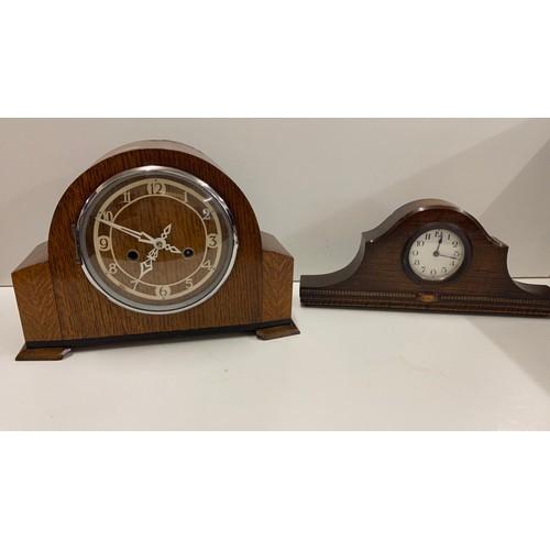54 - Vintage oak mantle clock, one other...