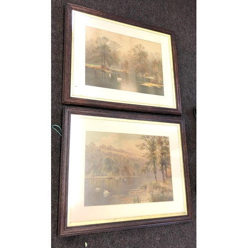 56 - Pair of oak framed pictures...
