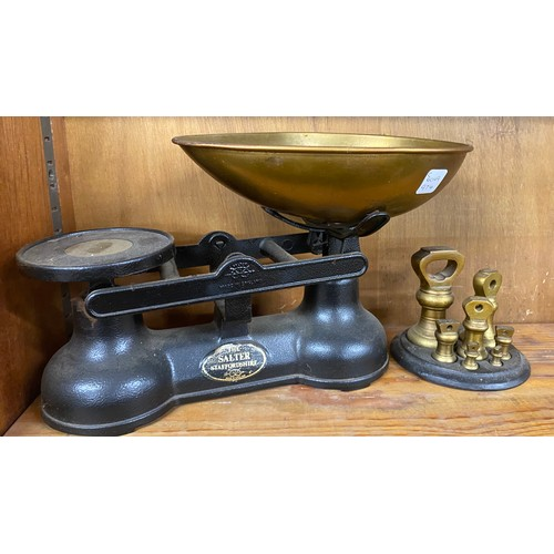 21 - Pair vintage salter scales with weights and weight stand...