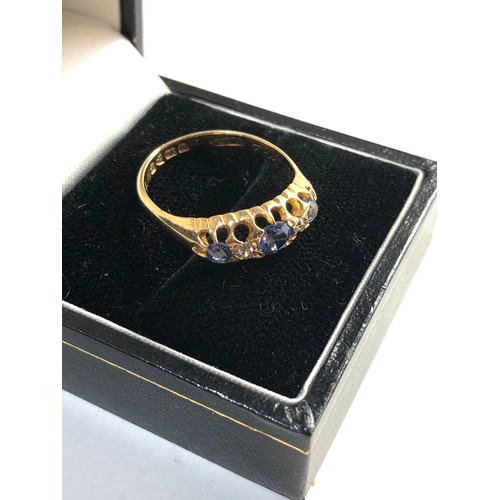 58 - 18ct gold sapphire gypsy ring weight approx 3.6g size approx p...
