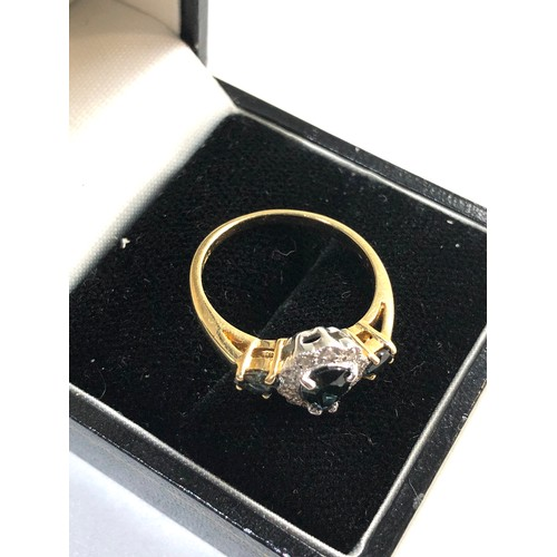 43 - 14ct gold and sapphire ring, weight approx 2.5g ring size approx p/q...