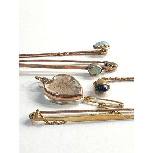 2 - selection of vintage / antique gold jewellery includes stick pins heart pendant 1nd 15ct gold hallma...