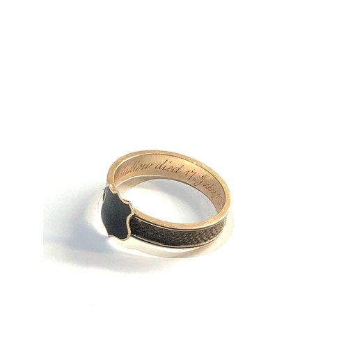7 - Victorian gold and enamel mourning ring interior reads Mary Ludlow died 17th july 1863 aged 49years ...