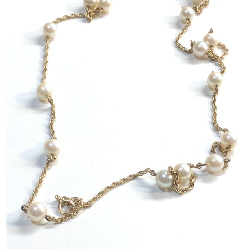 37 - 9ct gold chain and pearl necklace 11.9g...