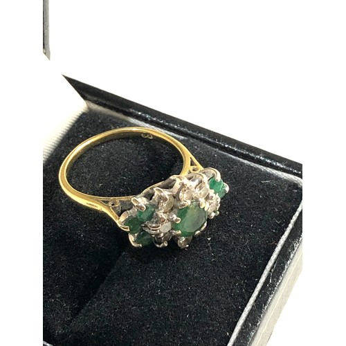 28 - 18ct Gold enamel diamond ring, ring size approx n/o, good overall condition...