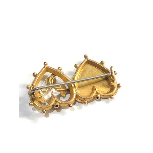 51 - 9ct gold mizpah brooch...