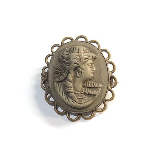 56 - carved larva cameo brooch...