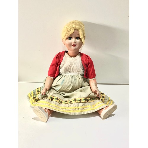 49 - Vintage comp head doll in good condition needs restringing approx 16ins...