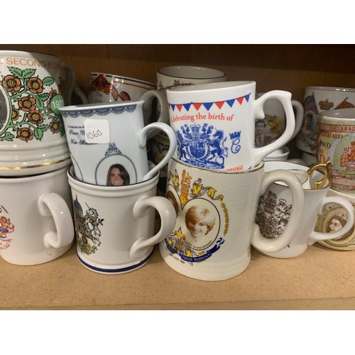 45 - Large selection of commemorative mugs, approximately 32, all in good overall condition...