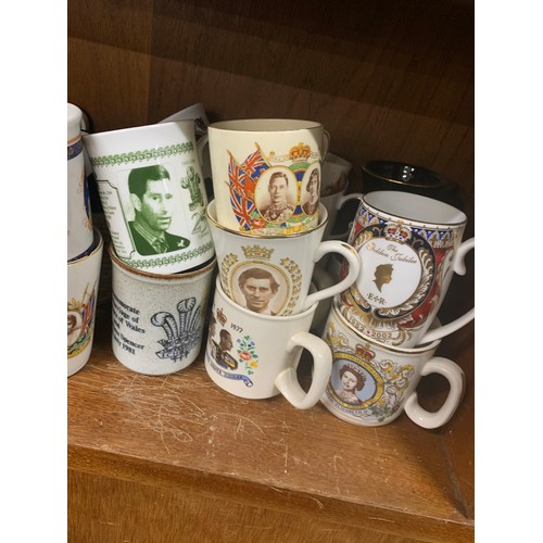 34 - Large selection of commemorative mugs, approximately 32, all in good overall condition...