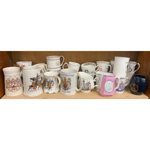 21 - Large selection of commemorative jugs, steins, mugs, all in good overall condition...
