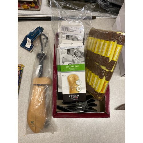 42 - Shoe stretcher, quantity of laces, leather plus footbeds and a selection of ladies tights...