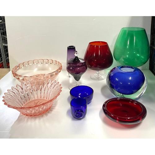 1 - Shelf of coloured glass...