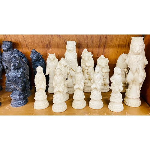 40 - Reynard chess set of woodland animals, 5 pieces are missing...