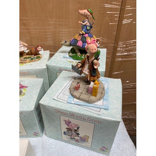 7 - Large selection of brand new in the box pig ornaments approx 14...