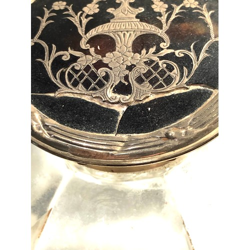 3 - Large Antique silver and tortoiseshell glass ink well split to lid as shown