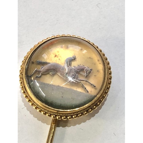 59 - Fine Antique Victorian 15ct gold race horse intaglio Essex crystal stick pin c1890 head measure appr...