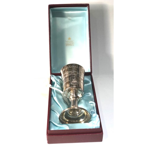 10 - Vintage boxed Garrard & co limited edition silver Chalice engraved and hallmarked reproduction of th...