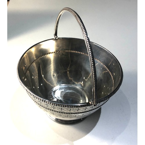 9 - Victorian silver basket measures approx 12.5cm dia height not including handle 7.5cm weight 190g
