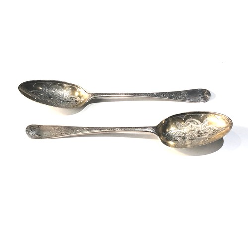 8 - 2 engraved  18th century silver table spoons weight 94g