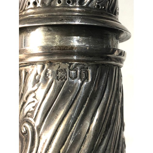 13 - Large antique silver sugar caster measures approx 25cm tall weight 200g London silver hallmarks...