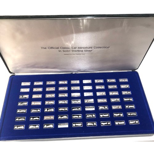 22 - Boxed set of 100 years of motoring sterling silver classic car miniature collection approx 63 pieces