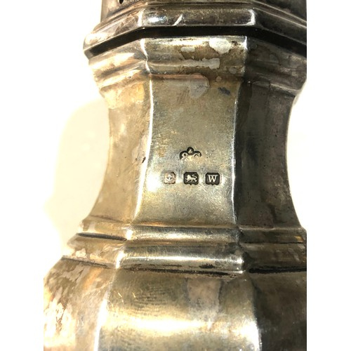 14 - Silver sugar caster measures approx height 19cm weight 120g Birmingham silver hallmarks...